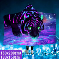 150x200cm 3D Printing Tiger/Lion Hooded Blanket Wearable Nap Throw Mat Warmer