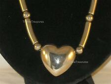 VINTAGE SILVERTONE BEADED CHAIN WITH A HEART PENDANT HOLLOW & NEAT BLINGY N204