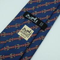 Vintage Hermes Paris Made In France Blue Belt Pattern Silk Tie 812 MA