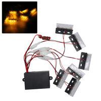 18 Amber Yellow LED Emergency Warning Strobe Lights Bars Deck Dash Grill 3 Mode