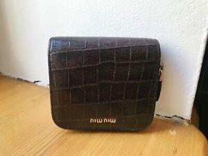 Miu Miu Geldbörse  Blogger Portemonnaie Braun Designer Gold Kroko Kalbsleder