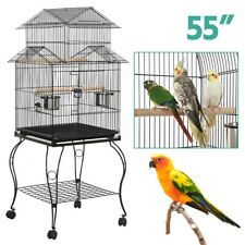 "55"" Triple Roof Top Large Bird Cage for Parrot Cockatiel Parakeet Rolling Stand"