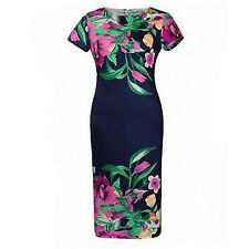PLUS SIZE Women Elegant Casual Beach Floral Round Neck Short Sleeve Mini Dresses