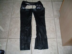 Harley Davidson Black Leather Motorcycle Riding Chaps Womens ?? Small