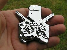 NED KELLY CAR EMBLEM Chrome Metal CAR BADGE *New & UNIQUE* Guns