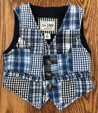 Childrens PLACE Boys 6-9 Months Blue White Patchwork Vest button front lined
