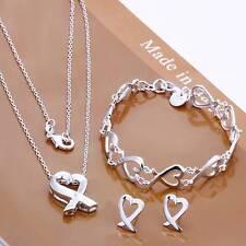 women 925 sterling silver filled Heart bracelet necklace Earrings Set Jewellery