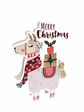 Llama 3D Paper Dazzle Christmas Greeting Card Glitter Finished