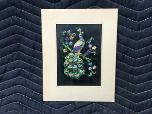 Vintage embroidered Peacock Art