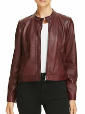 Rebecca Taylor Women's Leather Jacket XS Bordeaux Perforated Leather Coat $995