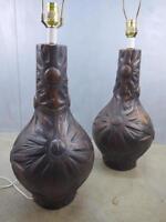 Pair BRUTAL Evans ERA Mid Century Sculptural Ceramic Table Lamps PhilMAR Sandel