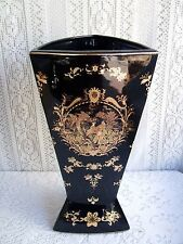 "* 15 1/2"" CHINESE PORCELAIN BLACK AND GOLD VASE/ UMBRELLA STAND WITH PEACOCKS *"