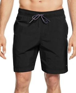 "Tommy Hilfiger Big and Tall Men's 9.5"" Tommmy Swim Trunks Black Size XLT #789840"
