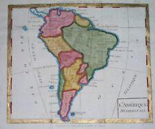 1807 ORIGINAL MAP SOUTH AMERICA PATAGONIA ARGENTINA BRAZIL PERU BOLIVIA COLOMBIA