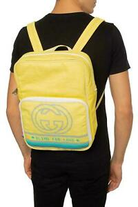 Gucci Backpack Yellow Blind for Love GG Bag Nylon Vintage 80's 536724 25620E