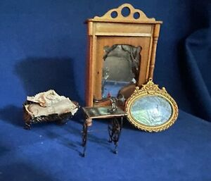 Antique Miniature Dollhouse Bedroom Furniture Lot, including sewing machine