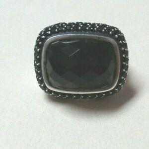 David Yurman 925 Silver Onyx Ring Size 7