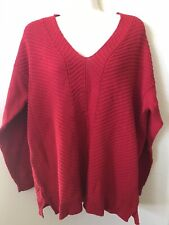 NWT Chaps Red V Neck Long Sleeve Side Slit Women's Knit Sweater Size XL