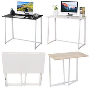 Folding Computer Desk Foldable Compact PC Table Home Office Study Wooden & Steel