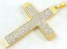 Real 18k Gold Filled Jesus Cross Lab Simulated Diamonds Crystal Charm Pendant 3""