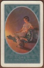 Playing Cards 1 Single Swap Card - Old Vintage Advertising GAS Fires LADY + CAT