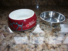 New ROGZ 2 in 1 Bubble Bowl, Red Hearts Design, Tiny Dog Puppy Bowl