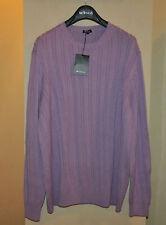 Authentic New Men's Kiton Napoli Purple Cotton Sweater,size IT56/US46