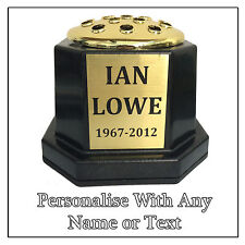 Personalised Memorial Vase Pot for Grave Headstone Black & Gold Any Name Text