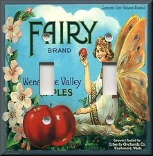 Metal Light Switch Plate Cover - Vintage Fruit Crate Decor Fairy Brand Apples