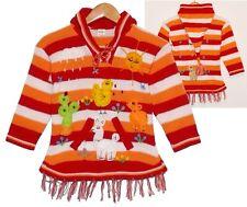 Pullover Kleid: rot orange weiß, Gr. 92*98, XXL-Zipfelkapuze, Peru Tiere Alpaka