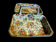 Antique Empire Earthenware Chintz Maytime Candy Dish Double Tray Handle c 1933