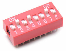 5x DIP Switch 8 Positions Sliding Toggle Switches Top Actuated Pack Kit USA
