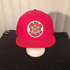 Vintage 80s NEVER WORN Leather Police Equipment Shoemaker Patch Trucker Cap Hat