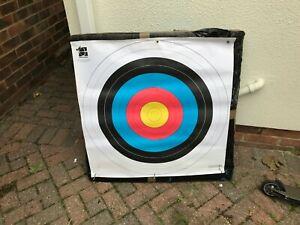 Straw Archery Target 90cm x 90cm with nine new paper targets.