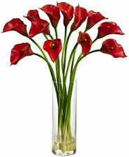 "NEW IN BOX! Nearly Natural Pretty Red 21"" Mini Calla Lily Glass Vase Faux Water"