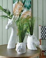 White Animal Head Vase Cat Leopard Zebra Bust Succulent Flower Herb Ceramic Pot