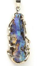 Artisan Modernist Huge Boulder Opal Pendant Necklace Sterling Silver Elongated