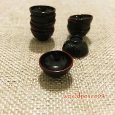 10Pcs Dollhouse Miniature Tableware Red Black Japanese Bowl 1:12 Scale Model