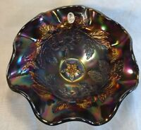 Fenton Art Glass Black Carnival Flower And Leaf Bowl