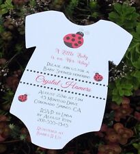 20 Baby Shower Invitations Ladybug Themed Printed on Matte Heavy Card Stock