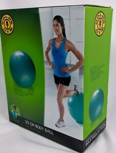 "Golds Gym 55 cm Teal 5'3"" & Under Yoga Workout Gym Fitness Body Ball w/ Pump"