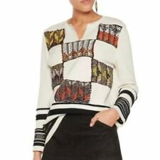 TORY BURCH PATCHWORK PUEBLO BLANKET BASKETWEAVE TUNIC SWEATER*******SIZE: SMALL