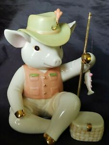 Lenox Pig Frankie's First Catch  figurine #813829 Rare 24kt Pig w/fish