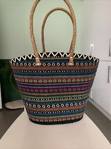 Moroccan Style  Large Basket French Market Beach Basket, Tote Shopper Bag