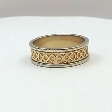 14K 2 Tone Gold JC Designer Celtic Irish Knot 7mm Wedding Band Ring Sz 8.75