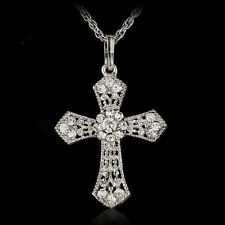 Nuevo silver jewelry CROSS crystal pendant sweaters chains necklace ladies gifts