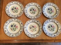 "SET OF 6 JOHNSON BROTHERS ENGLAND PROVINCIAL IRONSTONE 9.75"" DINNER PLATES - #2"
