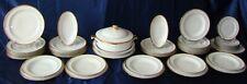 Service porcelaine Alfred Lanternier Limoges Art Déco double dorure 1911 36 pc,