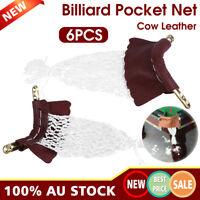 6pcs/Set Leather Snooker Table Net Pocket Set Billiard Pool Replacement Ball Bag