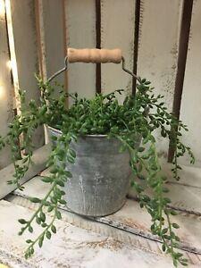 Wild Flower Grey Metal Bucket Planter Pot Herb 13.5cm